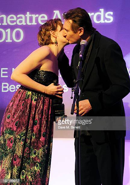 Nancy Carroll Winner of The Natasha Richardson Award for Best Actress and Liam Neeson attend the London Evening Standard Theatre Awards ceremony at...