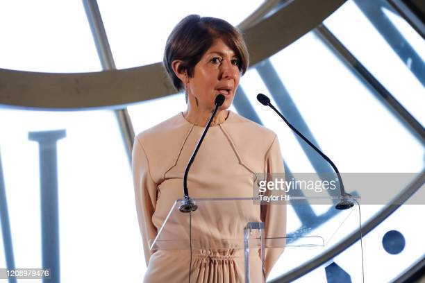 Nancy Chilton speaks during the press preview of About Time Fashion and Duration the 2020 Metropolitan Museum of Art Costume Institute exhibition at...