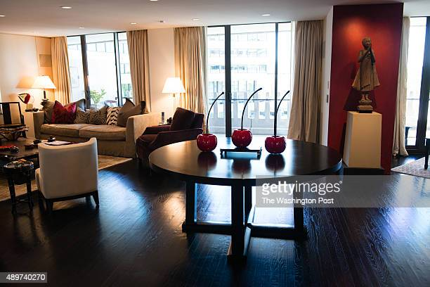 Nancy Conrad's extensively renovated condo in the Watergate building is pictured on August 22 2015 The living room is pictured