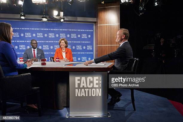 Nancy Cordes Jamelle Bouie and Susan Page with John Dickerson as he anchors his first broadcast as anchor of FACE THE NATION the longrunning CBS News...