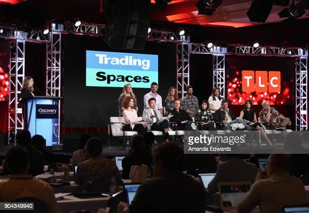 Nancy Daniels President General Manager TLC with the 'Trading Spaces' cast Laurie Smith Vern Yip Doug Wilson Paige Davis Ty Pennington Hildi...