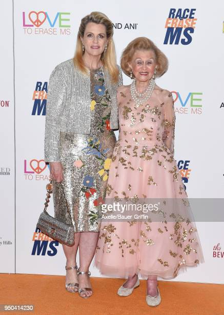 Nancy David and Barbara Davis arrive at the 25th Annual Race to Erase MS Gala at The Beverly Hilton Hotel on April 20 2018 in Beverly Hills California