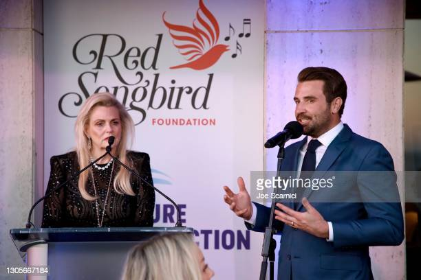 """Nancy Davis and Jason Wahler speak during a private event with the cast of MTV's """"The Hills"""" hosted by Cure Addiction Now & The Red Songbird..."""