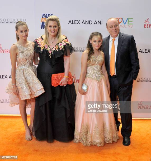 Nancy Davis Mariella Davis Isabella Davis and Ken Rickel arrive at the 24th Annual Race To Erase MS Gala at The Beverly Hilton Hotel on May 5 2017 in...