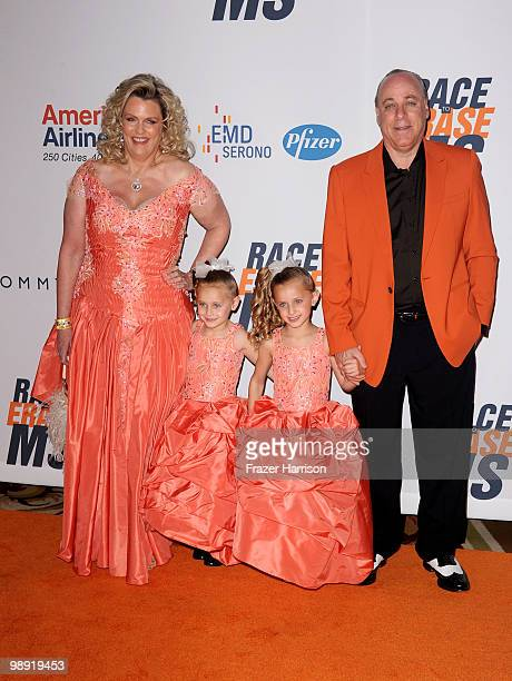 Nancy Davis Mariella Davis Isabella Davis and Ken Rickel arrive at the 17th Annual Race to Erase MS event cochaired by Nancy Davis and Tommy Hilfiger...