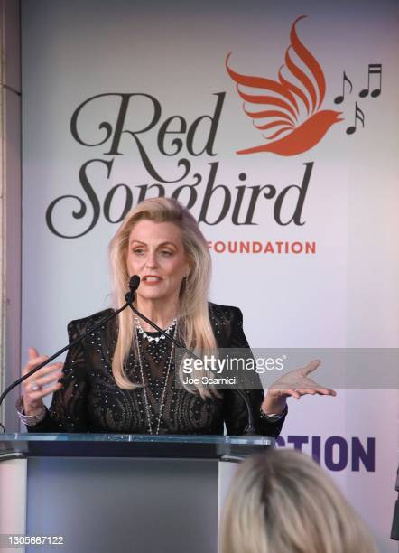 """Nancy Davis speaks onstage during a private event with the cast of MTV's """"The Hills"""" hosted by Cure Addiction Now & The Red Songbird Foundation on..."""