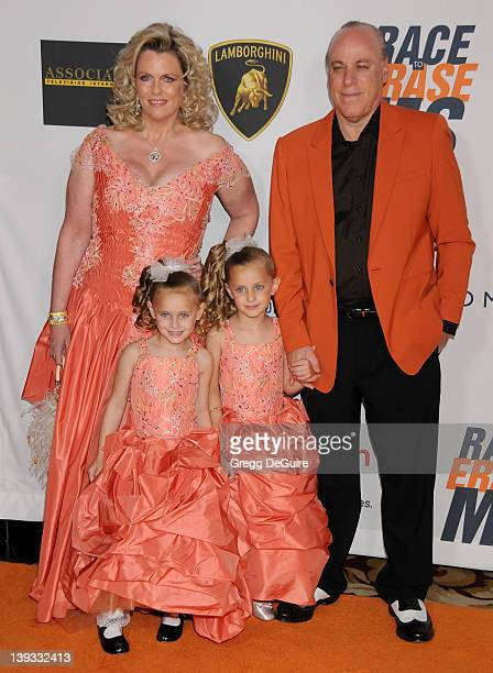 Nancy Davis twins Isabella and Mariella and Ken Rickel arrive at the 17th Annual Race to Erase MS event at the Hyatt Regency Century Plaza Hotel on...