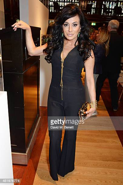 Nancy Dell'Olio attends 'The Art Of Futebol' charity auction in support of Action for Brazil's Children Trust at the Embassy of Brazil on July 10...