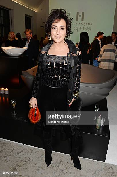 Nancy Dell'Olio attends the global unveiling of Kelly Hoppen's new bathware collection with Apaiser at IRIS Studios on February 5 2015 in London...