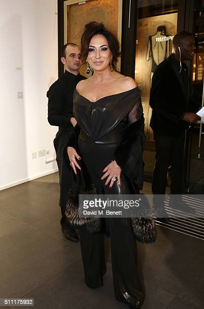 Nancy Dell'Olio attends the launch of the Bernard Buffet exhibition hosted by JeanDavid Malat at The Opera Gallery on February 18 2016 in London...