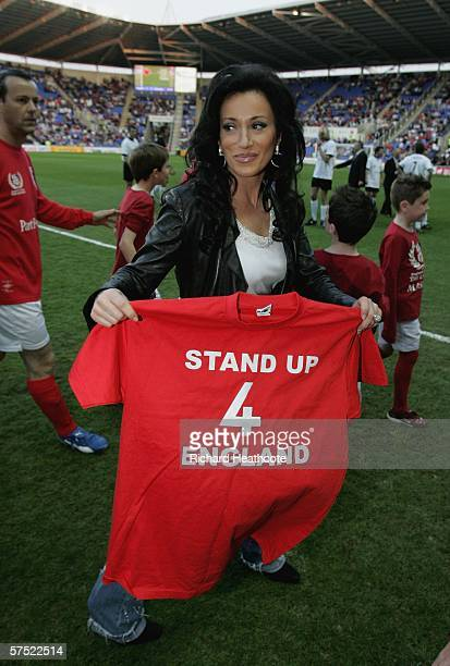 Nancy Dell'Olio carrys an England supporters shirt during the Legends match between England and Germany at The Madejski Stadium on May 3 2006 in...