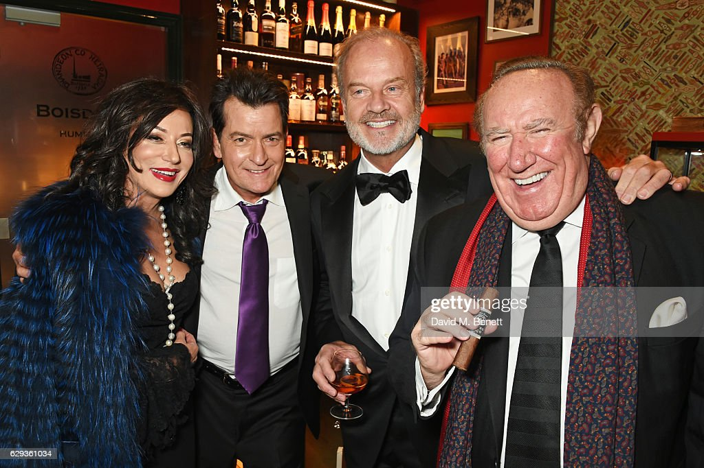 Nancy Dell'Olio, Charlie Sheen, Kelsey Grammer and Andrew Neil attend the Snow Queen Cigar Smoker of the Year awards at Boisdale of Canary Wharf on December 12, 2016 in London, England.