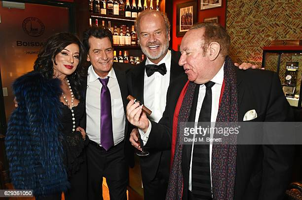 Nancy Dell'Olio Charlie Sheen Kelsey Grammer and Andrew Neil attend the Snow Queen Cigar Smoker of the Year awards at Boisdale of Canary Wharf on...