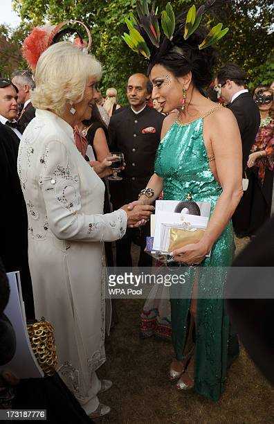 Nancy Dell'Olio meets with Camilla Duchess of Cornwall at a reception hosted by Prince Charles Prince of Wales and Duchess of Cornwall a charity...