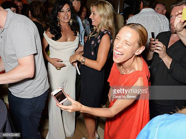 Nancy Dell'Olio, Sarah Esqulant Giles and Tiphaine de Lussy attend the a party celebrating the 35th anniversary of 'The Golden Heart' pub at Galvin...