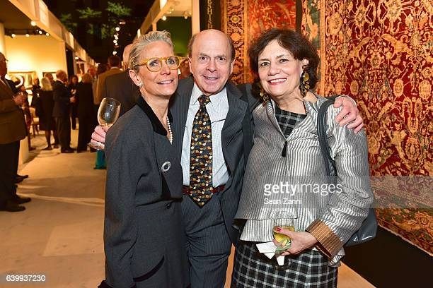Nancy Druckman Jay Cantor and Deborah Force attend 2017 Winter Antiques Show Opening Night Party at Park Avenue Armory on January 19 2017 in New York...