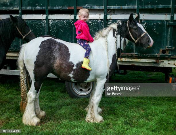 Nancy Edwards from Barnard Castle sits on a horse during 152nd the Ryedale Country Show on July 31 2018 in Kirbymoorside England Held in Welburn Park...