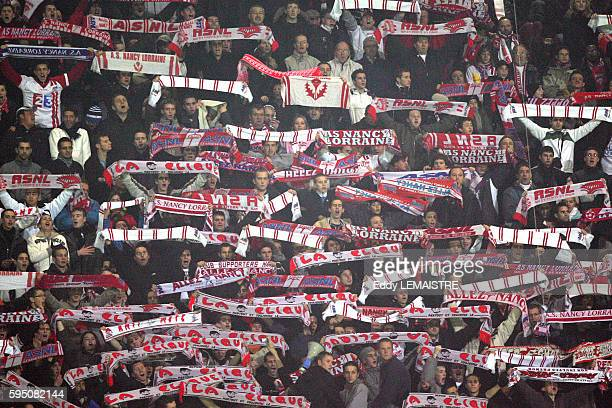 Nancy fans during the 2006-2007 UEFA Cup match between AS Nancy Lorraine and Feyenoord Rotterdam.