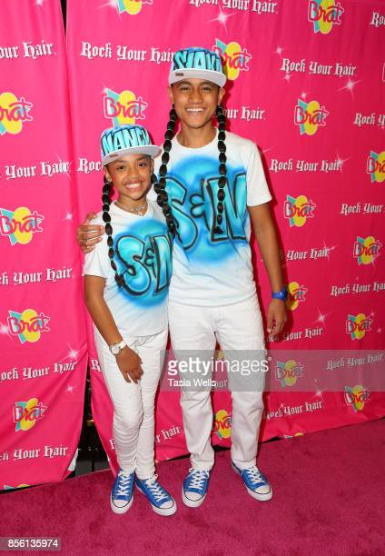 Nancy Fifita and SIAKI Sii at Rock Your Hair Presents Rock Back to School Concert Party on September 30 2017 in Los Angeles California