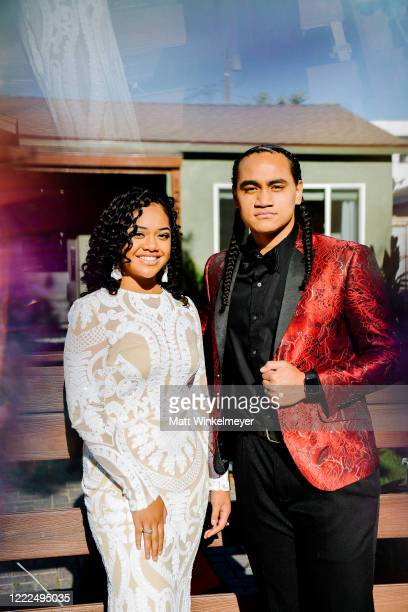 Nancy Fifita and Siaki Sii attend #SaveProm a virtual prom for high school kids hosted by My School Dance and Charlotte's Closet on May 2 2020 in...