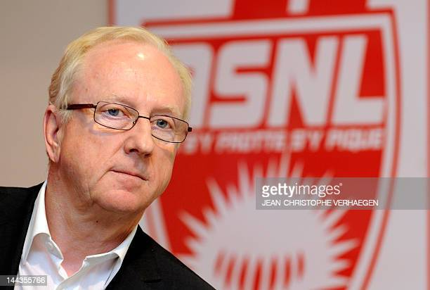 Nancy football club's president Jacques Rousselot gives a press conference prior to the French L1 football match Nancy vs Saint-Etienne at the Marcel...