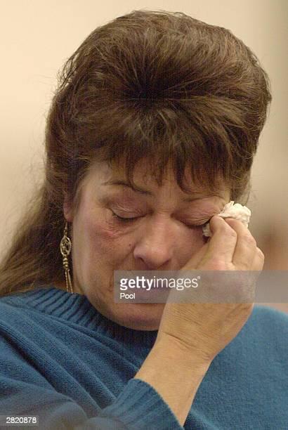 Nancy Gabbert mother of Green River Killer victim Sandra Gabbert cries as she speaks at the sentencing of Gary Ridgway in King County Washington...