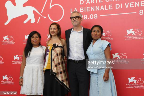 Nancy García García Marina de Tavira Alfonso Cuaron and Yalitza Aparicio attend 'Roma' photocall during the 75th Venice Film Festival at Sala Casino...