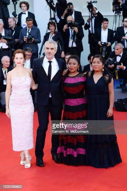 Nancy García García Yalitza Aparicio Alfonso Cuarón and Marina de Tavira walk the red carpet ahead of the 'Roma' screening during the 75th Venice...