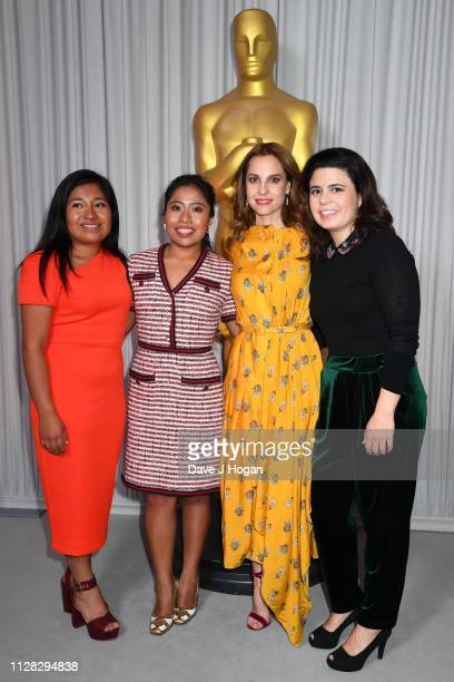 Nancy Garcia Garcia Yalitza Aparicio Marina de Tavira and Gabriela Rodriguez attend the 91st Oscars Nominee Champagne Tea Reception at Claridges...