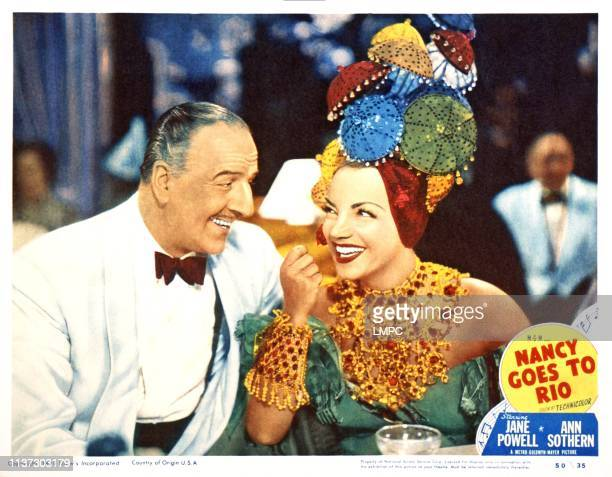 Nancy Goes To Rio US lobbycard from left Louis Calhern Carmen Miranda 1950