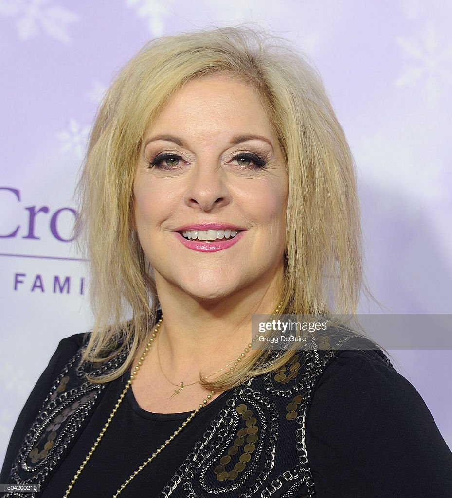 Nancy Grace arrives at the Hallmark Channel and Hallmark Movies and Mysteries Winter 2016 TCA Press Tour at Tournament House on January 8, 2016 in Pasadena, California.