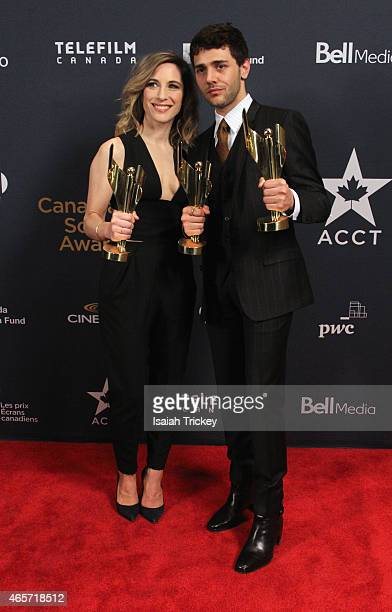 Nancy Grant and Xavier Dolan pose in the press room at the 2015 Canadian Screen Awards at the Four Seasons Centre for the Performing Arts on March 1...