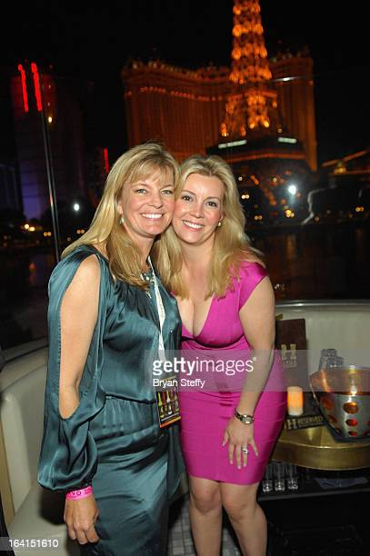 Nancy Hadley and Nicole Taffer appear during a Platinum party at Hyde Bellagio at the Bellagio during the 28th annual Nightclub Bar Convention and...