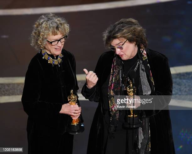 Nancy Haigh and Barbara Ling accept the Production Design award for 'Once Upon a Time...in Hollywood' onstage during the 92nd Annual Academy Awards...