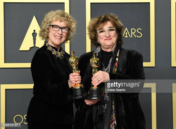"""Nancy Haigh and Barbara Ling, winners of the Production Design award for """"Once Upon a Time in Hollywood,"""" pose in the press room during the 92nd..."""