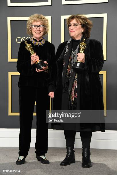 """Nancy Haigh and Barbara Ling, winners of the Production Design award for """"Once Upon a Time...in Hollywood,"""" pose in the press room during the 92nd..."""