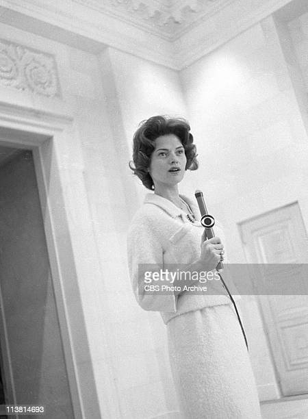 Nancy Hanschman Dickerson, first female reporter for CBS, reporting from the White House in Washington, D.C., just after John F. Kennedy's...