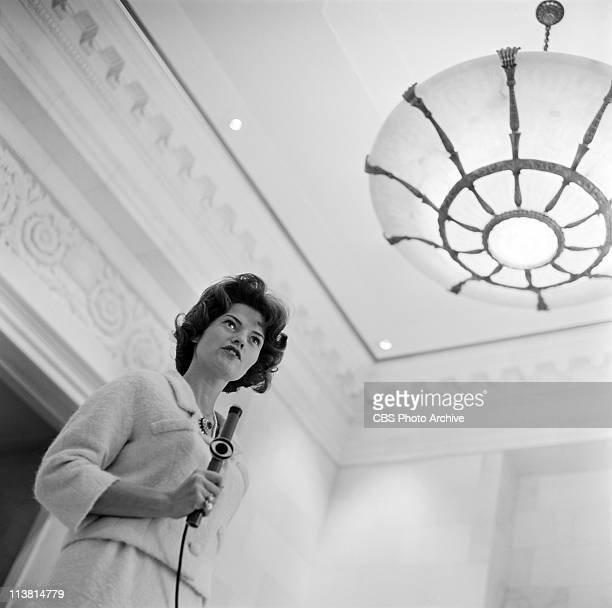 Nancy Hanschman Dickerson, first female reporter for CBS, reporting from the White House just after John F. Kennedy's inauguration, January 20, 1961.