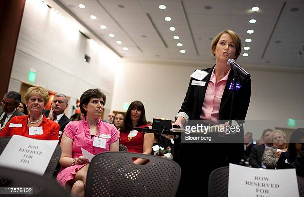 Nancy Haunty a breast cancer patient testifies in favor of Avastin during a Food and Drug Administration hearing in Silver Spring Maryland US on...