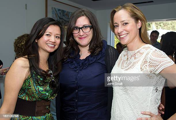Nancy Hsieh Alex Couri and Christina Gerber attend the Rema Hort Mann Foundation conversation with Susan and Michael Hort on September 28 2013 in Los...