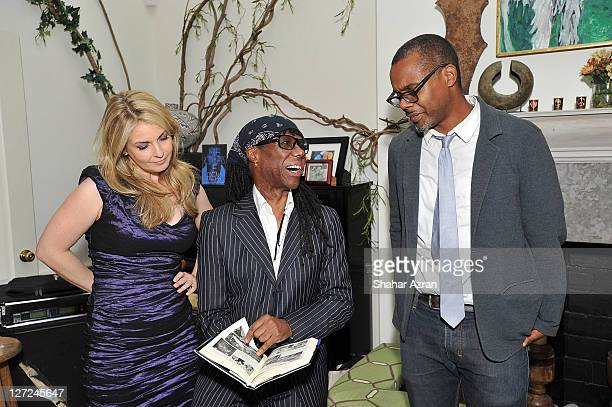 Nancy Hunt Nile rodgers and Chritopher Jackson attends an Intimate Evening with Nile Rodgers hosted by Susan and David Rockefeller on September 26...