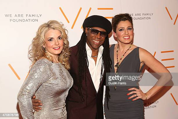 Nancy Hunt Nile Rodgers and Jess Teutonico attend The 2015 We Are Family Foundation Celebration Gala at Hammerstein Ballroom on April 23 2015 in New...