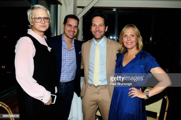 Nancy Jarecki Paul Rudd and Julie Yaeger attend The Cinema Society With Synchrony And Avion Host The After Party For Marvel Studios' 'AntMan And The...
