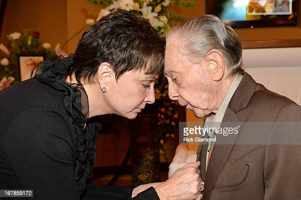 Nancy Jones and country singer 'Little' Jimmy Dickens attend the private visitation for George Jones on May 1 2013 in Nashville Tennessee Jones...