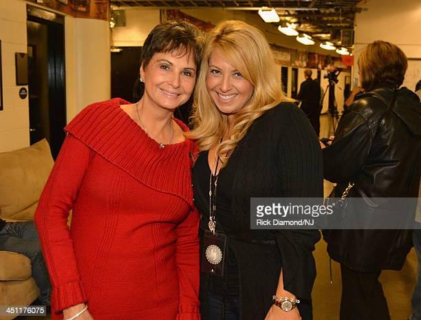 Nancy Jones and Lisa Matassa pose during rehearsals of Playin' Possum The Final No Show Tribute To George Jones at Bridgestone Arena on November 21...