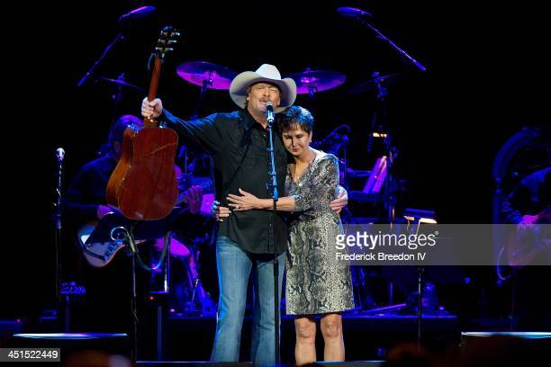 Nancy Jones appears with Alan Jackson after a performance during Playin' Possum The Final No Show Tribute To George Jones at Bridgestone Arena on...