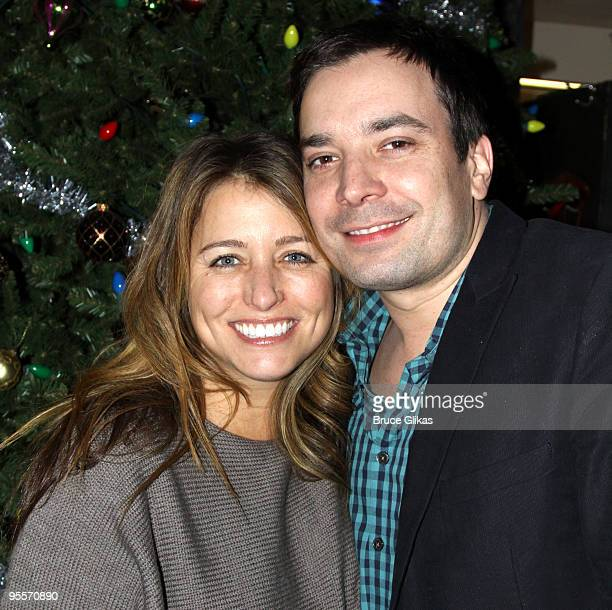 Nancy Juvonen and husband Jimmy Fallon pose backstage at Irving Berlin's White Christmas on Broadway at The Marriott Marquis Theater on January 2...