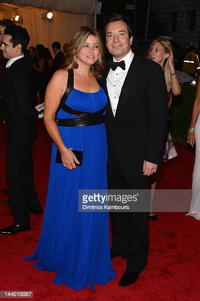 Nancy Juvonen and Jimmy Fallon attend the Schiaparelli And Prada Impossible Conversations Costume Institute Gala at the Metropolitan Museum of Art on...