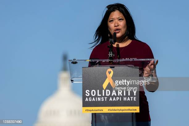 Nancy Keller, creator of As American As You, speaks during a rally on the National Mall on May 31, 2021 in Washington, DC. Members and allies of the...