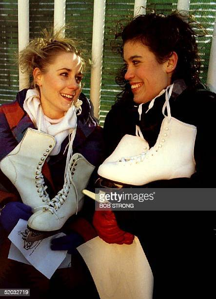Nancy Kerrigan and Tonya Harding lookalikes Sarah Oliver and Tracy Hunt chat 14 February 1994 prior to a casting audition for a cable television...